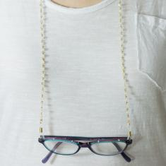Eyewear Chain Gold Beads White