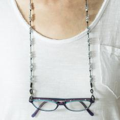 Eyewear Chain Glass Beads Silver
