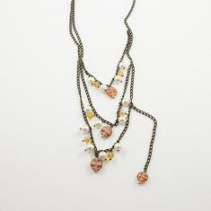 Necklace Triple Bronze Pearls