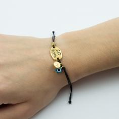 "Bracelet Black Plate ""Hope"" Gold"