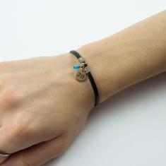 Bracelet Leather Black 20 Rose Gold