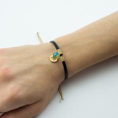 Bracelet Leather Black 20 Gold
