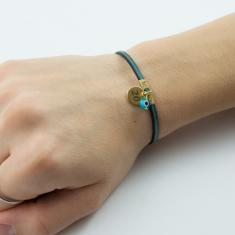 Bracelet Leather Turquoise 20 Gold