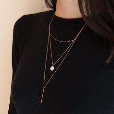 Necklace Chain Triple Bar Rose Gold