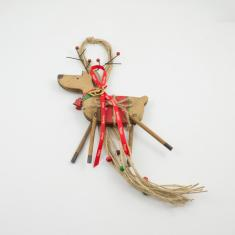 Charm Wooden Reindeer Red Saddle