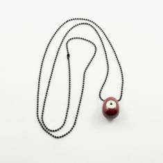 Necklace Ceramic Tear Bordeaux Eye White