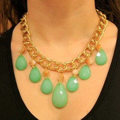 Necklace Chain Tears Green