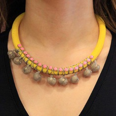 Necklace Yellow with Rhinestone Chain