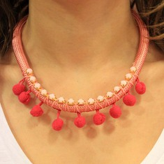 Necklace Coral with Rhinestone Chain
