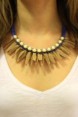 Necklace Knitted Braid Beige