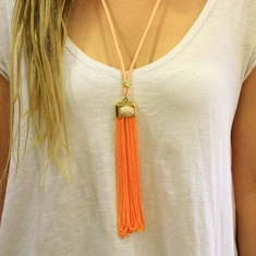 Necklace with Orange Tassel