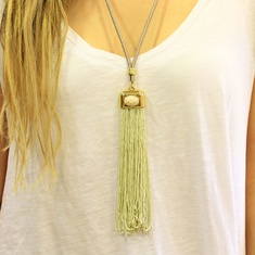 Necklace with Beige Tassel