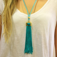 Necklace with Teal Tassel