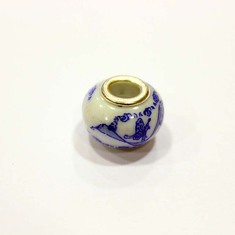 """Pandora"" Bead White with Blue"