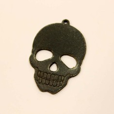 Leather Black Skull 4.5x3cm