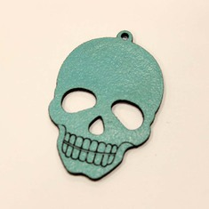 Leather Turquoise Skull 4.5x3cm