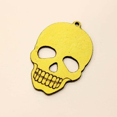 Leather Yellow Skull 4.5x3cm