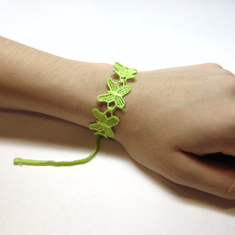 Lace Bracelet Butterfly Light Green