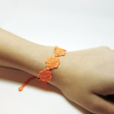 Lace Bracelet Flower Orange