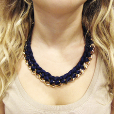Necklace Knitted Chain Blue