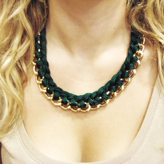Necklace Knitted Chain Cypress Green