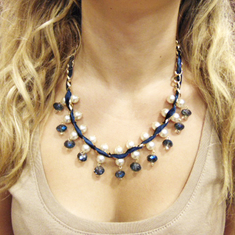 Necklace Chain Blue Crystal