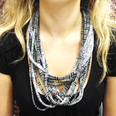 "Cotton Necklace ""Gray Striped"""