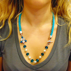Necklace Metal Pendant Teal