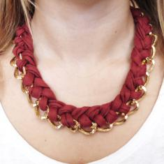 Necklace Chain Burgundy Cotton