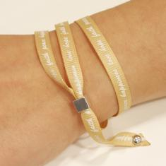 Bracelet with Wishes Beige-Gold