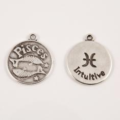 "Metal Zodiac Sign ""Pisces"" Silver"
