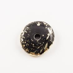 Flat Acrylic Bead Gold-Black