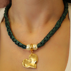 Necklace Taffeta Heart Green