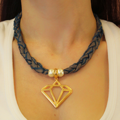 Necklace Taffeta Diamond Bronze