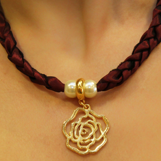 Necklace Taffeta with Rose
