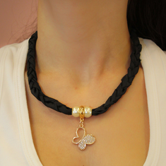 Necklace Taffeta Butterfly Black