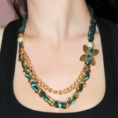 Necklace Taffeta with Chain and Pearls