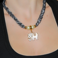 Necklace Taffeta Elephant Gray