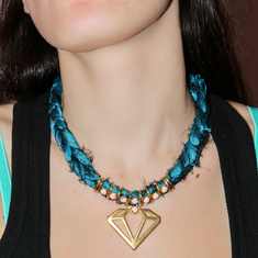 Necklace Taffeta Diamond Teal